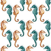 Watercolor seahorse pattern — Stock Photo