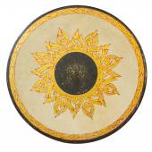 Golden Thai pattern on a ancient Drum surface texture on isolate — Stock Photo