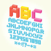 Art brick letters and numbers — Stock Vector