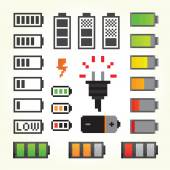 Battery pack icons in pixel art style — Cтоковый вектор