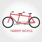 Tandem bicycle isolated vector — Stock Vector