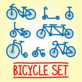 Hand drawn bicycle vector set — Stock Vector