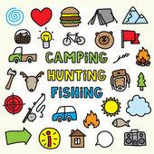 Cartoon camping icons — Stock Vector
