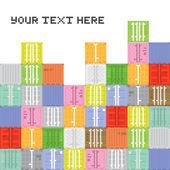 Pixel art container stack — Stock Vector