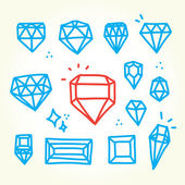 Hand drawn diamonds — Stock Vector