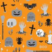 Halloween pixel art pattern — Stock Vector