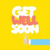 Get well soon balloons motivation card — Stock Vector