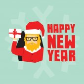 Happy new year hipster santa postcard — Stock Vector