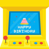 Arcade machine cake birthday — Stock Vector