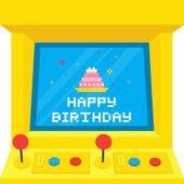 Arcade machine cake birthday — Stock Vector