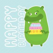 Green birthday monster — Stock Vector