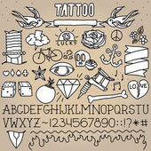 Old school tattoo objects pack — Stock Vector