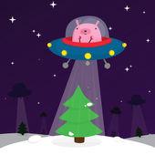 Ufo rabbit with christmas tree — Stock Vector