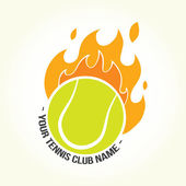 Burning tennis ball logo — Stock Vector