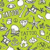 Doodle tattoo seamless vector background — Stockvektor