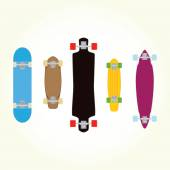 Skateboard and long board shapes isolated vector — Stok Vektör