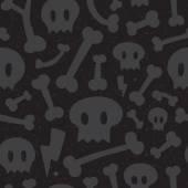 Skulls and bones black pattern — Stock Vector