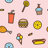 Junk food seamless pattern — Vector de stock