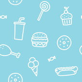 Junk food blue seamless pattern — Vector de stock