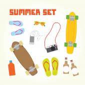 Summer objects set — Stockvektor