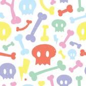 Skulls and bones white pattern — Stock Vector