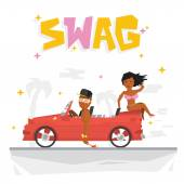 Swag boy and sexy girl vector illustration — Stock Vector