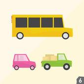 School bus, pink car and pickup truck. Transportation vector set 6 — Stock Vector