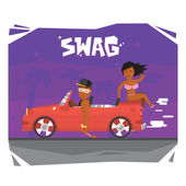 Swag luxury guy and girl in sport car vector illustration — Stock Vector
