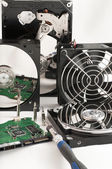 Details of hard disk drive open and a fan — Stock Photo