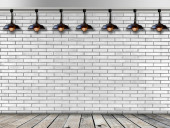 Ceiling lamp whit White Brick wall — Stock Photo