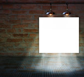 Blank frame on Brick wall with glass floor for information message — Stock Photo