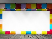 Blank frame on Colorful Paper egg tray wall and wood floor for information message — Foto de Stock
