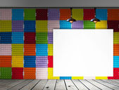 Blank frame on Colorful Paper egg tray wall and wood floor for information message — Stock Photo