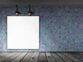 Blank frame on wall with Ceiling lamp for information message — Foto de Stock