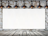 Blank frame on stone wall and wood floor for information message — Stock fotografie