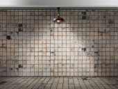 Ceiling lamp in Dirty tile room — Stock Photo