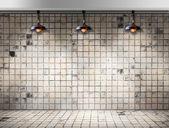 Ceiling lamp in Dirty tile room — Stock fotografie