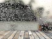 Wood floor with rainy drop on the mirror background — Stock Photo
