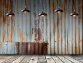 Lamp at Rusted galvanized iron plate with wood floor — Stock Photo