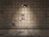 Ceiling lamp in Dirty tile room — Stockfoto
