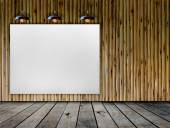 Blank frame on wood wall with Ceiling lamp — Stok fotoğraf