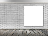 Blank frame on White brick wall and wood floor for information message — Stock Photo