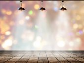 Lamp in bokeh background  with Wood plank floor — Stock Photo
