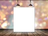 Blank frame on bokeh background with Ceiling lamp for information messagev — Stock Photo