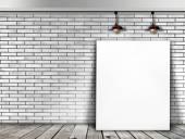 Affisch stående i vit tegelvägg med taklampan — Stockfoto