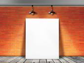 Poster standing in Brick wall with Ceiling lamp — Stockfoto
