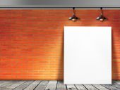 Poster standing in Brick wall with Ceiling lamp — Стоковое фото