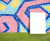 Blank Poster with Colorful mosaic tile wall and green lawn for information message — Stockfoto