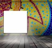 Blank frame on mosaic tile wall with Ceiling lamp for information message — Stock Photo