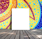 Poster standing on mosaic tile for information message — Stockfoto